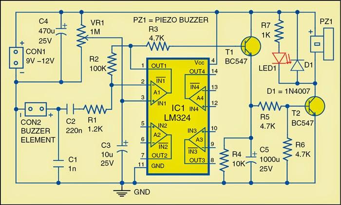 Door-Knock or Vibration Alarm Circuit Diagram   Electronic Circuits ...