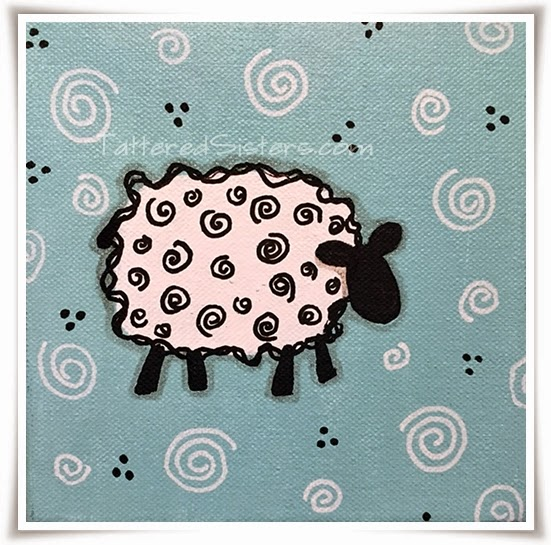 Primitive Sheep Canvas
