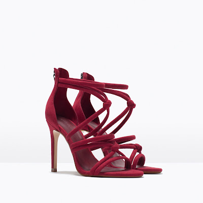 Zara Red Strappy High heeled Sandals