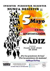 Manifestación por las pensiones en Cádiz, sábado 5 de mayo a las 12 horas en la plaza de San Juan d
