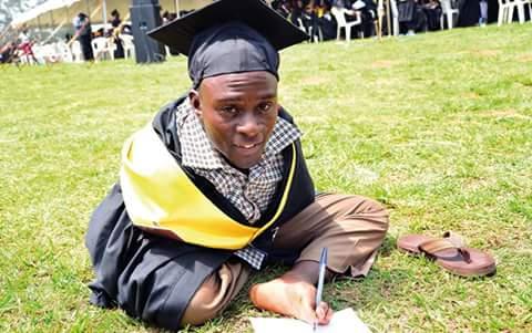 man without arms graduate university uganda
