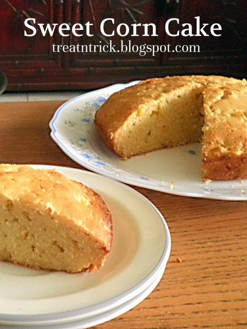 Sweet Corn Cake Recioe @ treatntrick.blogspot.com