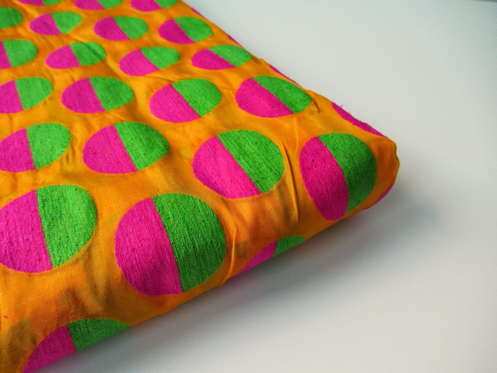 neon orange pink velvet silk brocade