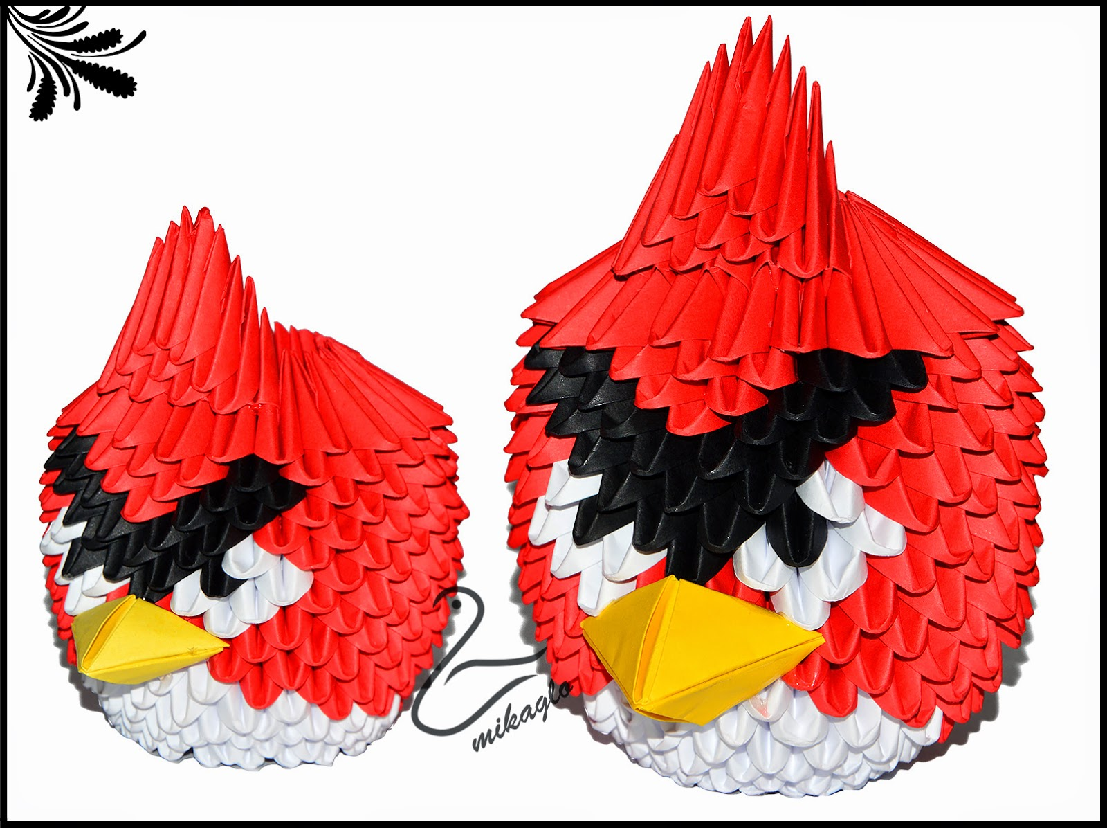 Red Angry Birds Origami 3d Diagram