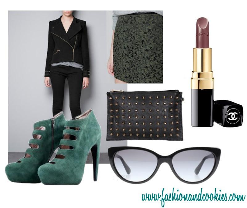 Zara biker jacket, camouflage print miniskirt, feminine army look