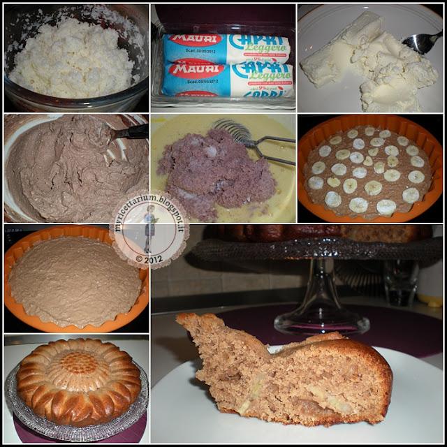 Torta al cocco con cacao, caprino e banana