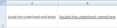 Single / Double Underline - Excel Apache POI - Java Program Output