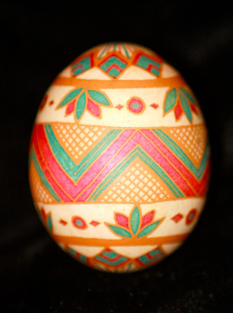 Ukrainian Egg Brown Chicken Egg Etched with Simple Design, Muted Colors Pink and Blue