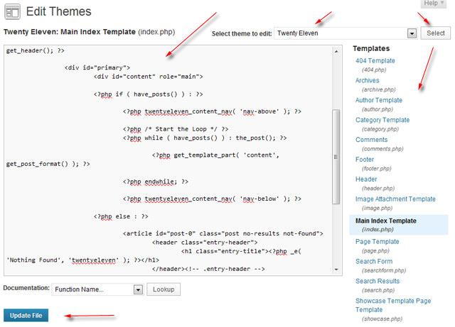 editing wordpress templates - mengedit tema wordpress flashbackkeren