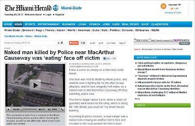 Miami: uomo mangia la faccia alla sua vittima. Ucciso dalla polizia !!!