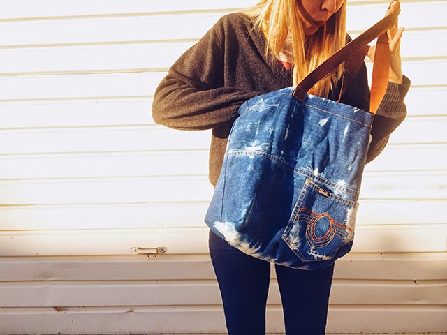 Denim, tote bag, bleach, bleached, upcycle, recycle, sunbleached