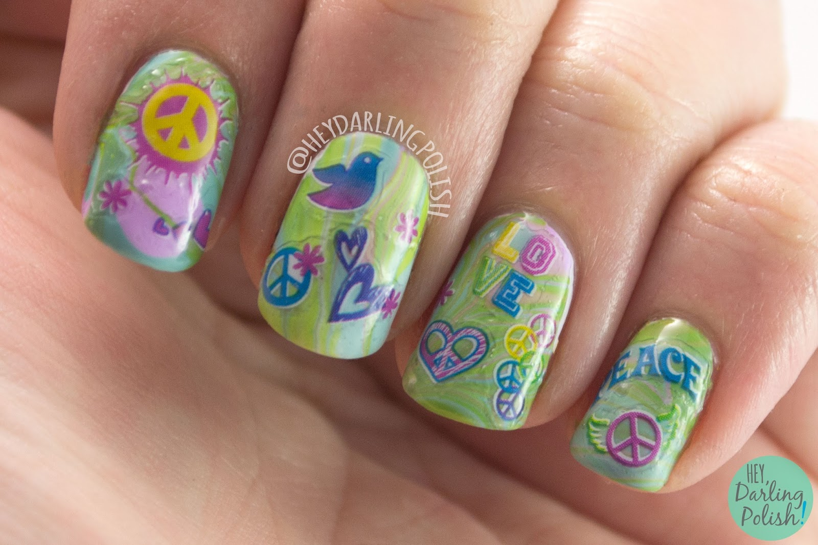 nails, nail art, nail polish, watermarble, decals, hey darling polish, hippy, 60s, 2015 cnt 31 day challenge