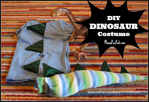 Homemade DIY dinosaur costume made from kids old clothes