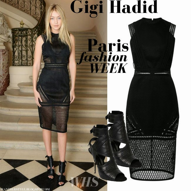 What She Wore Gigi Hadid In Black Lace Pencil Dress And Black Open