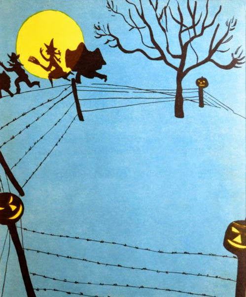 halloween witches and ghosts in the countryside illustration by Roger Duvoisin