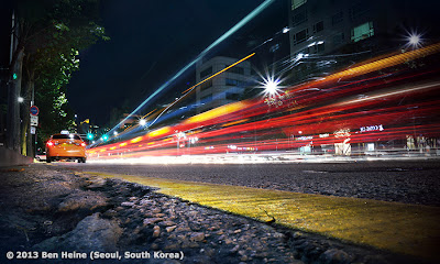 Long exposure photo (cars and lights) in the Gangnam District of Seoul, South Korea - Photo by Ben Heine - 2013