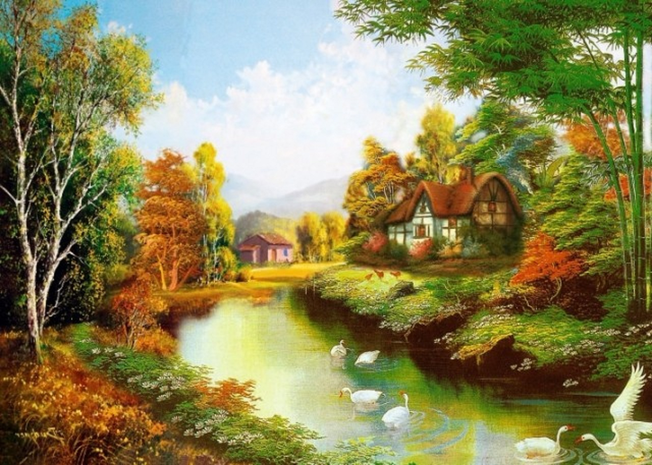 Beautiful painting wallpapers free beautiful desktop hd - Art village wallpaper ...