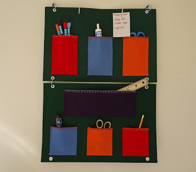 wall-mounted pocket organizer, felt