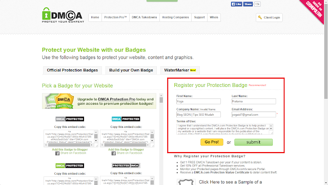Cara Memasang Widget DMCA Protection di Blog SEON
