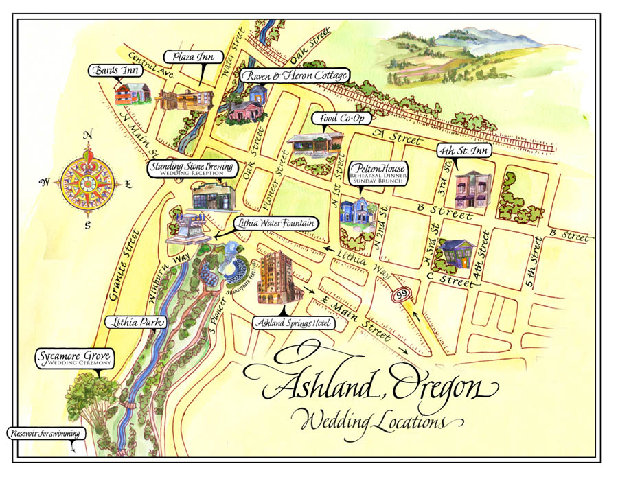 Sally Sanders Calligraphy & Design: Map of Ashland, Oregon