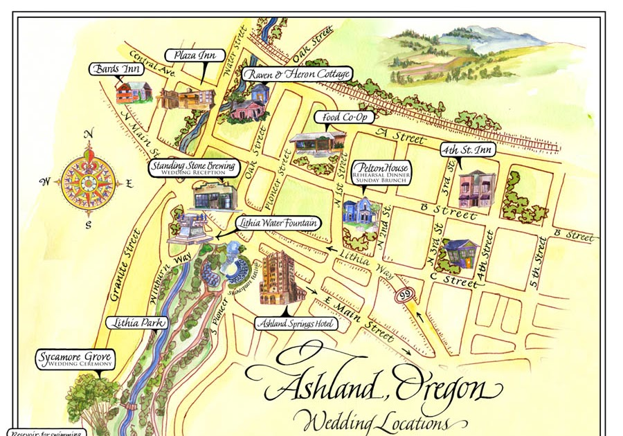 sally sanders calligraphy & design map of ashland, oregon Ashland Map Ashland Map #8 ashland maps