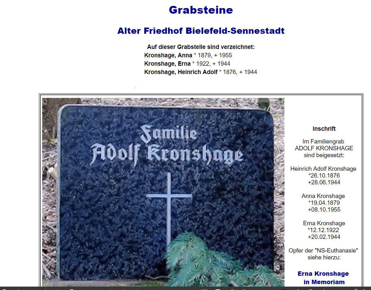 """Grabstätte Kronshage auf dem """"geabsteine-projekt"""" von """"geneaogy.net"""""""