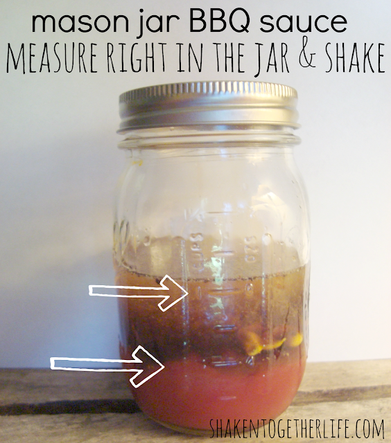 Tangy homemade BBQ sauce made right in a mason jar - Fathers' Day gift at shakentogetherlife.com