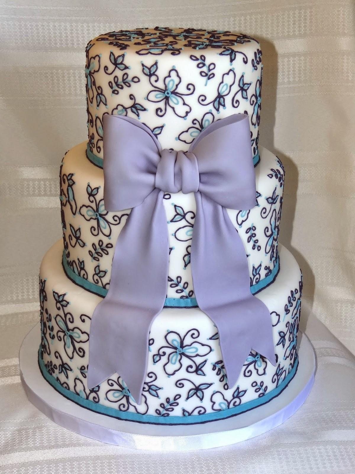 Tiers of Joy Cakery Dark Purple and Turquoise Wedding Cake