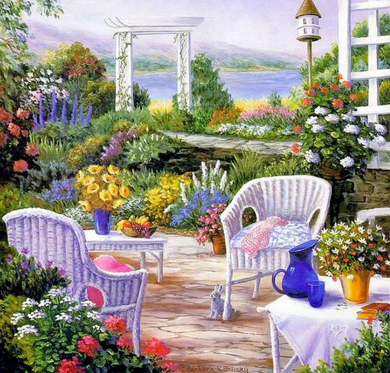 Cuadros modernos pinturas y dibujos cuadros de casas con - Ver jardines de casas ...