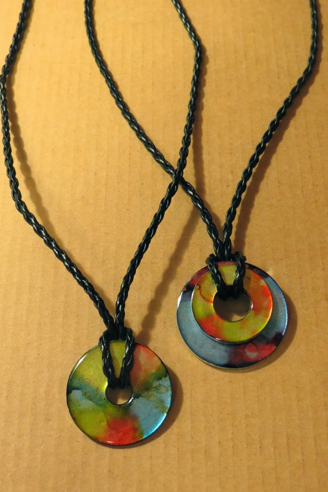 Artwork of marlo lee recycled jewelry designs metal washer pendants stained with alcohol ink aloadofball Choice Image