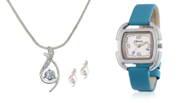 Diamond Pendant and Leather Watch at Low Price