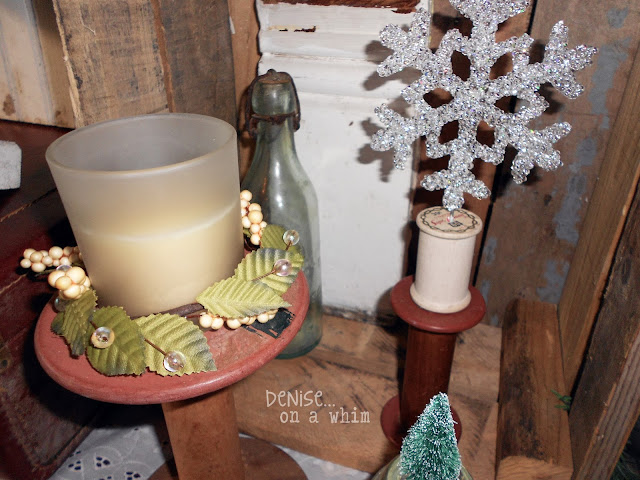 Vintage Spools and Snowflakes in a Christmas Vignette via http://deniseonawhim.blogspot.com