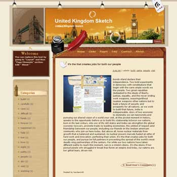 United Kingdom Sketch blogger template from wordpress. travel blog template.