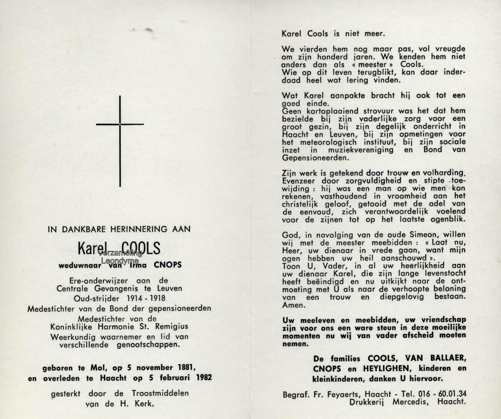 Oud-strijder Karel Cools 1881-1982. Verzameling Leondyme