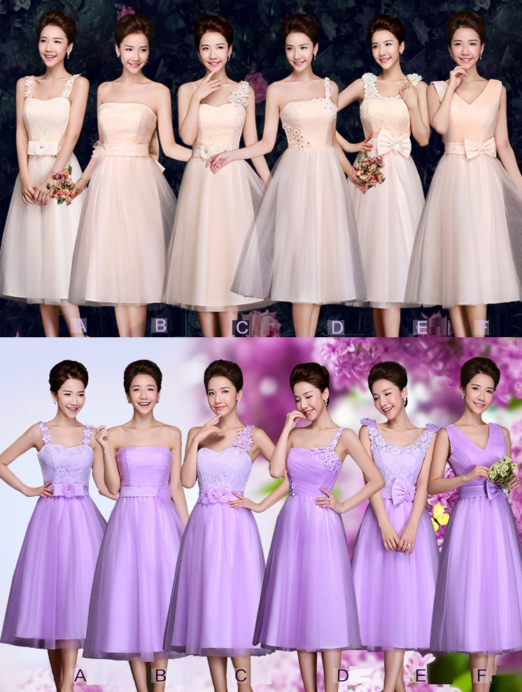 6-Color Beige/Purple Tutu Floral Lace Past Knee Length Bridesmaid Dresses