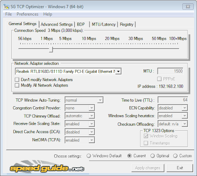 TCP Optimizer , optimize internet connection