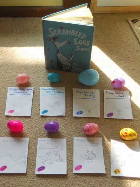 Scrambled Eggs Super! Egg Hunt and Bird Name Generator Activity via www.happybirthdayauthor.com