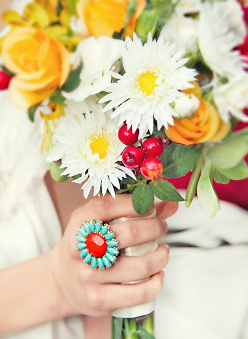 Flower Power Fashion Ring - Aqua and Orange