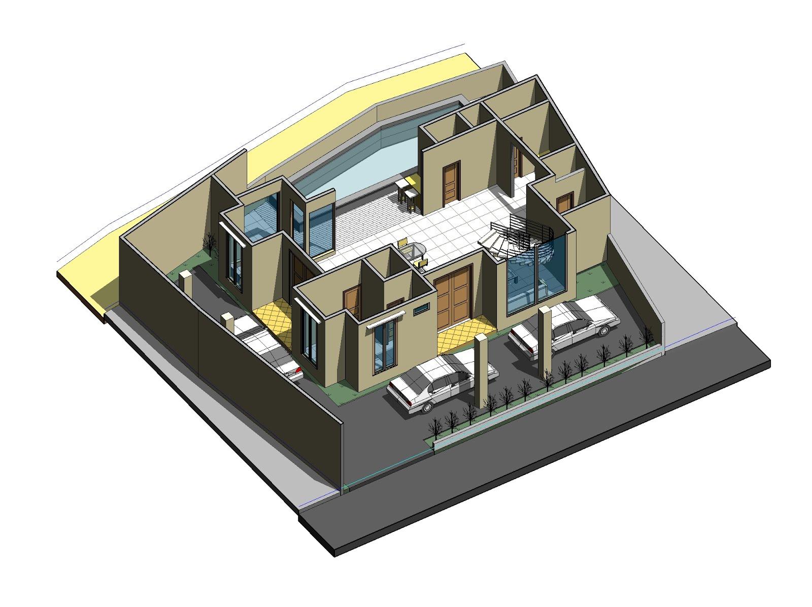 Susunan denah layout lantai 1 diutamakan untuk mengakomodir kebutuhan open space dimana banyak kegiatan inti dalam rumah akan terjadi.