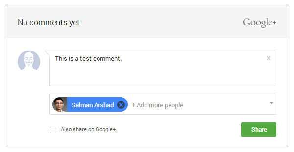 Google+ comments sharing option 2