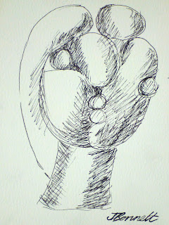 ink sketch of Picasso sculpture by artist jane Bennett