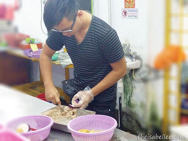 Stuffing yong tau fu with fish paste