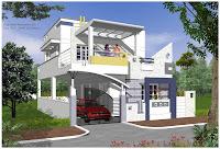 Foto de diseño de casa moderna con carro, auto o coche elegante estacionado