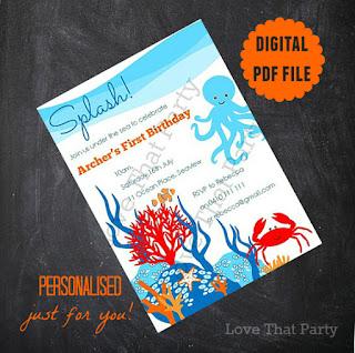 Under the Sea Printable Personalised Birthday Invitation