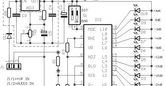build a 10 led bar dot vu meter circuit based lm3915