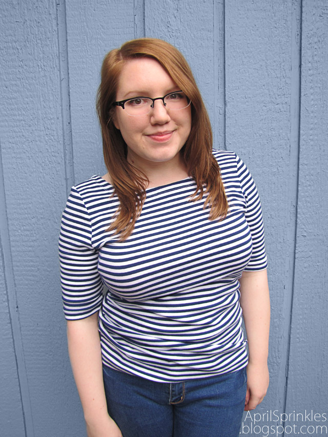 Stripes and Flowers shirt refashion by April Sprinkles