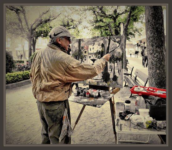 SANT HILARI SACALM-GIRONA-FUENTES-FOTOS-PINTORES-PINTANDO-PINTOR-ERNEST DESCALS-