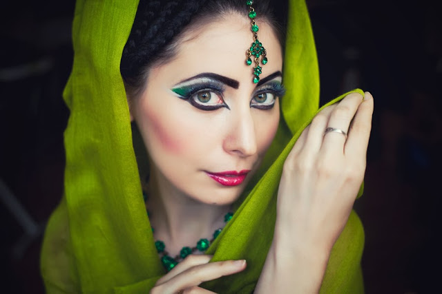 professional makeup artist Birmingham, asian style makeup green, asian wedding