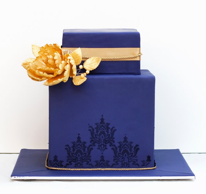 Wedding Cakes Pictures Dark Blue and Yellow Wedding Cakes