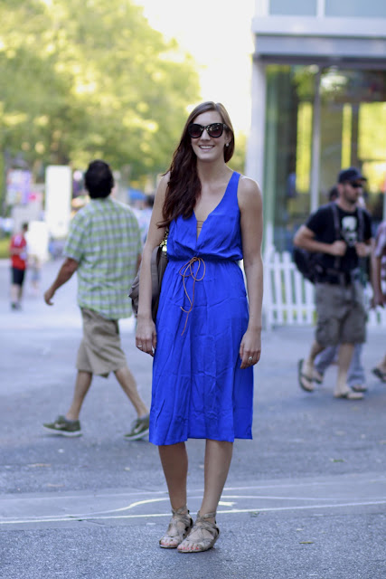 Seattle Street Style Haley Moore Space Needle Cobalt Blue Dress